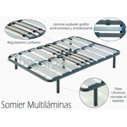 Cama Completa - Colchón Flexitex + Somier Multiláminas + Patas + Almohada de Fibra.