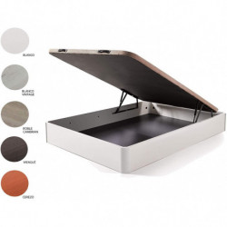 Cama Completa - Colchón Viscoelástico Viscorelax + Canape Abatible de Madera Color Wengué + Almohada de Fibra