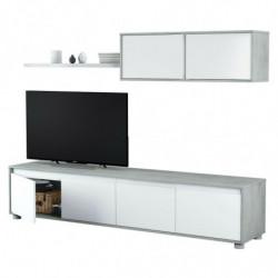 Mueble de salón Moderno, modulos Comedor Alida (Blanco Artik y Gris Cemento)