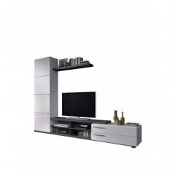 Mueble de Comedor, Mueble Salon Moderno, Acabado en Gris Ceniza y Blanco Brillo
