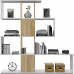 Estantería librería Zig Zag, estantería Comedor, Salon o despacho, Modelo Zig Zag (Blanco Artik y Roble Canadian)