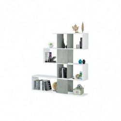 Estantería Comedor, librería Auxiliar Salon con estantes, Modelo zigzag (Blanco Artik y Gris Cemento)