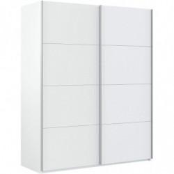 Armario Dos Puertas correderas, Armario Dormitorio Acabado en Color Blanco Brillo