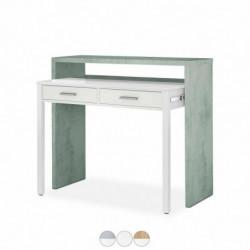 Mesa De Escritorio Extensible Bureau Color Cemento / Blanco Artik