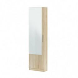 Zapatero 1 Puerta Con Espejo Color Roble Canadian Mueble Entrada Pasillo Recibidor, Medidas: 180x50x22 Cm