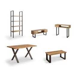 Conjunto madera: Mesa Centro U + Mueble Tv Max+Mesa X + Estantería 80 + Recibidor Angi