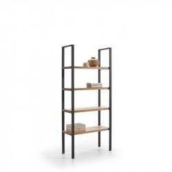 Conjunto madera: Mesa Centro U + Mueble Tv Max+Mesa X + Estantería 80 + Recibidor Metal
