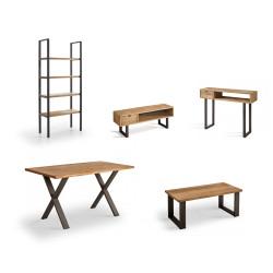 Conjunto madera: Mesa Centro U + Mueble Tv Angi + Mesa X + Estantería 80 + Recibidor Angi