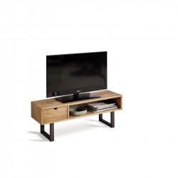 Conjunto madera: Mesa Centro U + MuebleTv Angi + Mesa X + Estantería 80 + Recibidor Metal