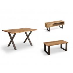 Conjunto madera: Mesa Centro U + Mueble Tv Angi + Mesa X