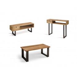 Conjunto madera: Mesa Centro U + Mueble Tv Angi + Recibidor Angi