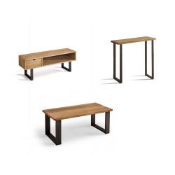 Conjunto madera: Mesa Centro U + Mueble Tv Angi + Recibidor Metal