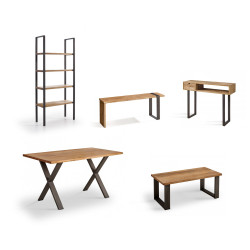 Conjunto madera: Mesa Centro U + Mueble Morfeo + Mesa X + Estantería 80 + Recibidor Angi