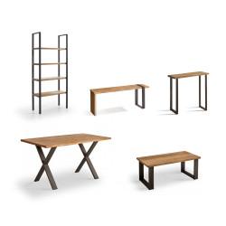 Conjunto madera: Mesa Centro U + Mueble Morfeo + Mesa X + Estantería 80 + Recibidor Metal