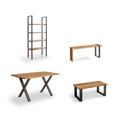 Conjunto madera: Mesa Centro U + Mueble Tv Morfeo + Mesa X + Estantería 80