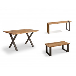 Conjunto madera: Mesa Centro U + Mueble Tv Morfeo + Mesa X