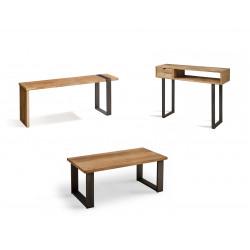 Conjunto madera: Mesa Centro U + Mueble Tv Morfeo + Recibidor Angi