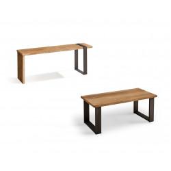 Conjunto madera: Mesa Centro U + Mueble Tv Morfeo
