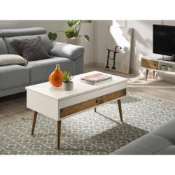 Conjunto madera: Mesa elevable cajón deslizante + Mueble Tv + Consola blanco