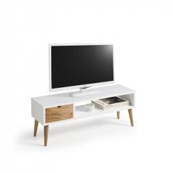 Conjunto madera: Mesa elevable cajón deslizante + Mueble Tv Pino + Consola blanco