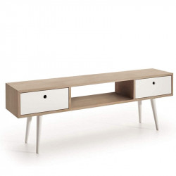 Conjunto madera: Deslizante chapa Roble-Blanco + TV Roble Chapa 140x30 blanco