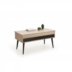 Conjunto madera: Deslizante chapa Roble-Negro + TV Roble Chapa 140x30 negro
