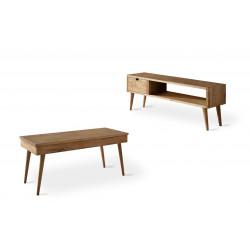 Conjunto madera: Mesa centro elevable Pino + Mueble Tv pino cajón