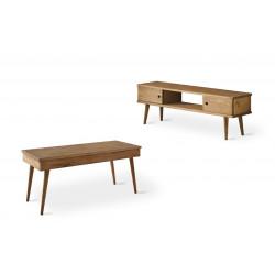 Conjunto madera: Mesa centro elevable Pino + Mueble Tv pino 2 puertas