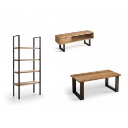 Conjunto madera: Mesa Centro U + Mueble Tv Angi + Estantería 80