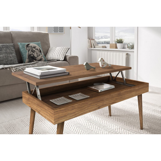 Mesa de centro elevable diseño vintage, madera maciza natural, fabricación artesanal. 100 cm x 50 cm x 47 cm