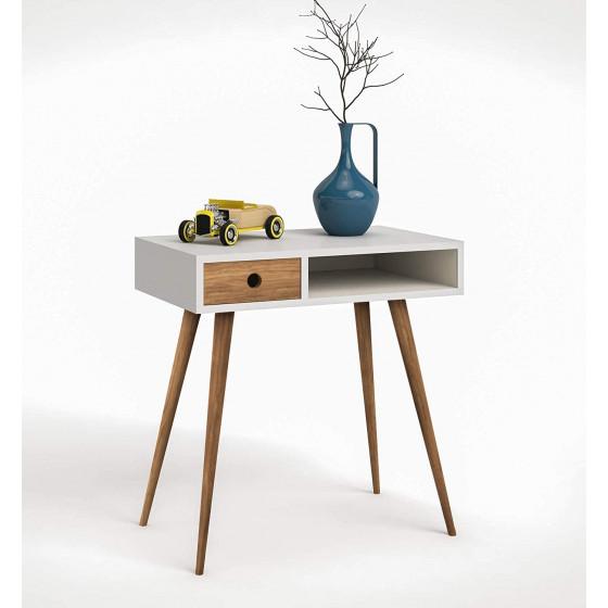 Mueble recibidor consola estilo vintage con cajón. Color blanco y madera natural.