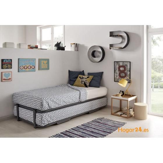 Cama Nido - Somier Superior Con Estructura Reforzada Doble Barra y 4 Patas + Somier Inferior Con Patas Plegables y Ruedas