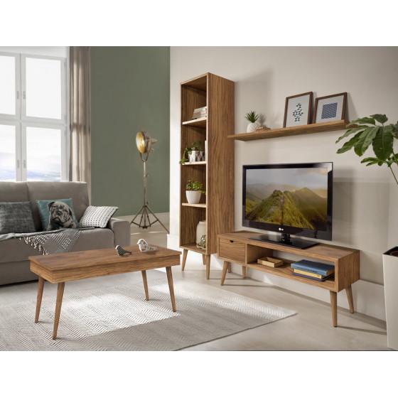 Composición mueble salón-comedor diseño vintage madera maciza natural acabado encerado.