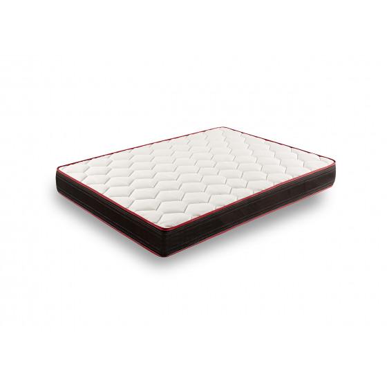 Base Tapizada Gris 5 Barras y Patas 26cm + Colchón Memory Fresh + Almohada Fibra