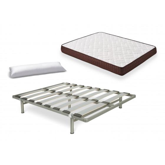 Cama Completa - Colchón Viscobrown Doble Capa Viscosoft, Altura 15 cm + Somier Desmontable con Patas + Almohada de Fibra