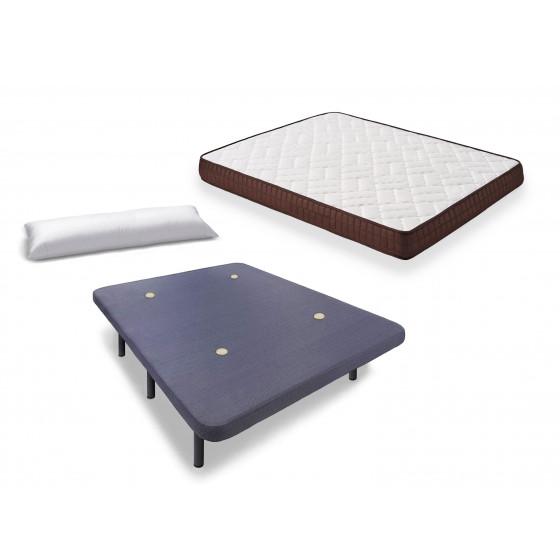 Cama Completa - Colchón Viscobrown Doble Capa Viscosoft, Altura 15 cm + Base Tapizada Gris con Patas + Almohada de Fibra