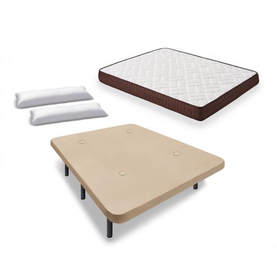 Cama Completa - Colchón Viscobrown Doble Capa Viscosoft, Altura 15 cm + Base Tapizada Beige con Patas + Almohada de Fibra