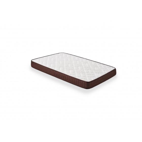 Cama Completa - Colchón Viscobrown Doble Capa Viscosoft, Altura 15 cm + Base Tapizada Blanca con Patas + Almohada de Fibra