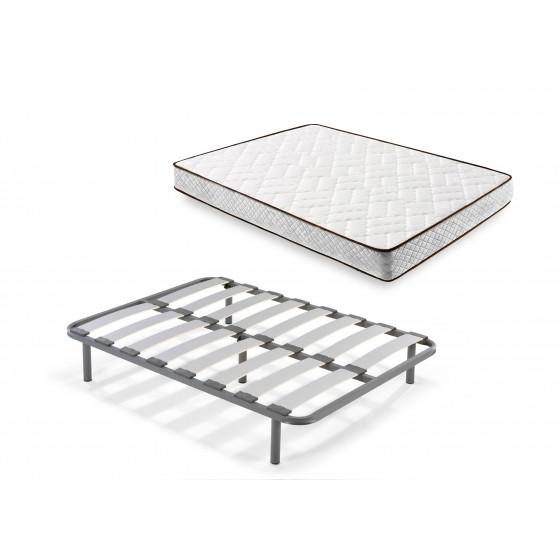 Cama Completa - Colchón Flexitex con Tejido 3D y Aloe Vera, Altura 18 cm + Somier Lama Curva + Patas