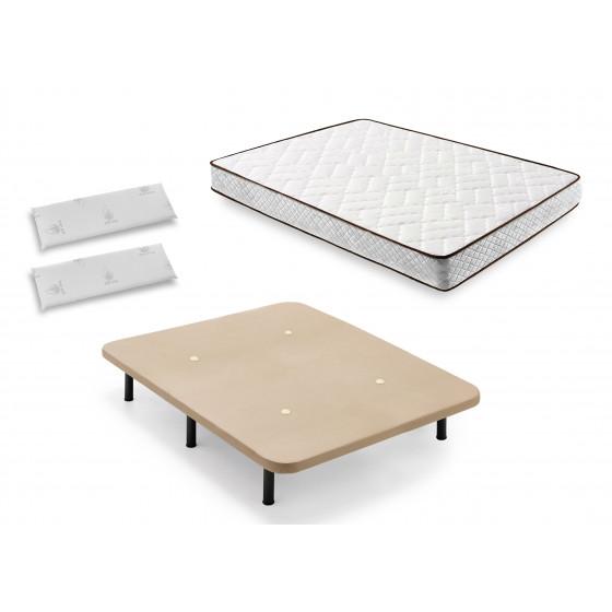 Cama Completa - Colchón Flexitex con Tejido 3D y Aloe Vera, Altura 18 cm + Base Tapizada Beige con Patas + Almohada de Visco