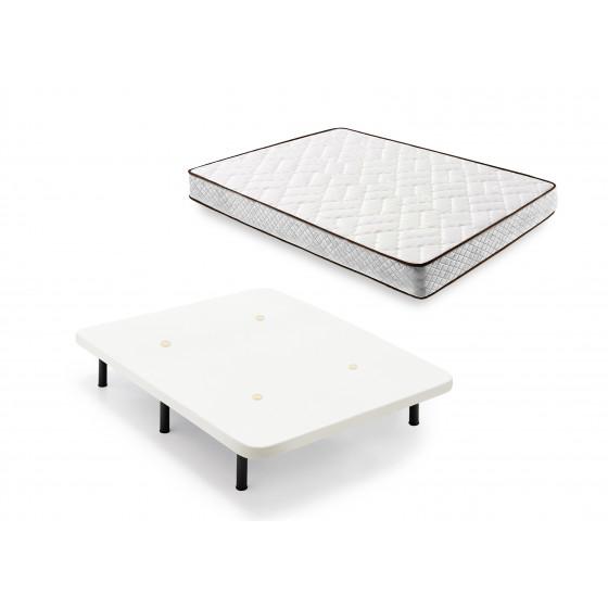 Cama Completa - Colchón Flexitex con Tejido 3D y Aloe Vera, Altura 18 cm + Base Tapizada Blanca + Patas