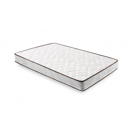 Cama Completa - Colchón Flexitex con Tejido 3D y Aloe Vera, Altura 18 cm + Base Tapizada Blanca con Patas + Almohada de Fibra