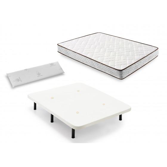 Cama Completa - Colchón Flexitex con Tejido 3D y Aloe Vera, Altura 18 cm + Base Tapizada Blanca con Patas + Almohada de Visco