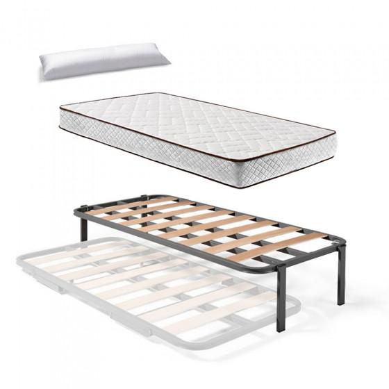 Somier Superior de Cama Nido con 4 Patas + Colchón Flexitex con Tejido 3D y Aloe Vera, Altura 18 cm + Almohada de Fibra