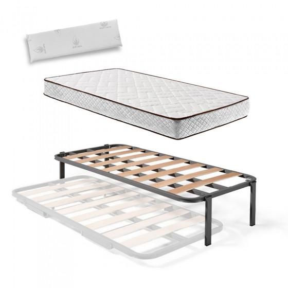 Somier Superior de Cama Nido con 4 Patas + Colchón Flexitex con Tejido 3D y Aloe Vera, Altura 18 cm + Almohada de Visco