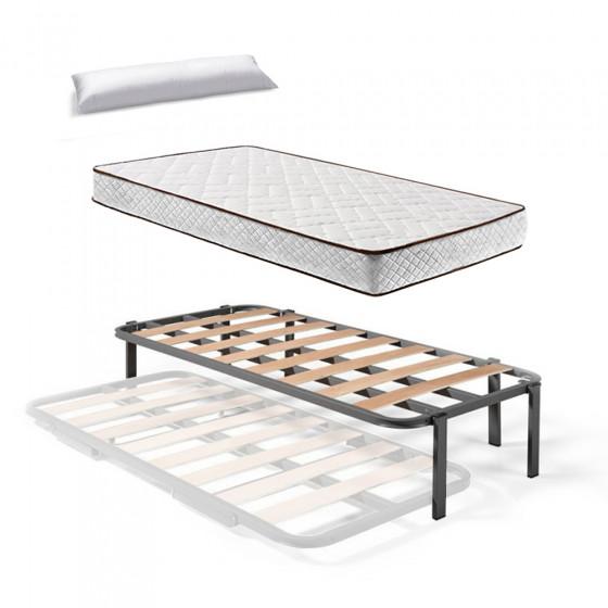 Somier Superior de Cama Nido con 6 Patas + Colchón Flexitex con Tejido 3D y Aloe Vera, Altura 18 cm + Almohada de Fibra