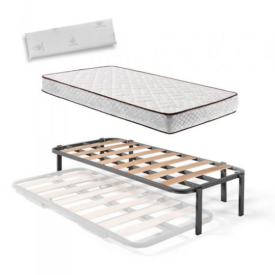 Somier Superior de Cama Nido con 6 Patas + Colchón Flexitex con Tejido 3D y Aloe Vera, Altura 18 cm + Almohada de Visco