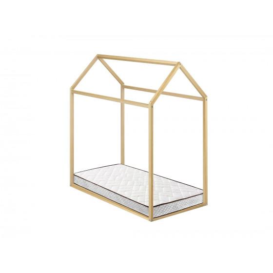 Cama Infantil Casita Madera Montessori + Colchón Flexitex con Tejido 3D y Aloe Vera, Altura 18 cm, 90x190 cm