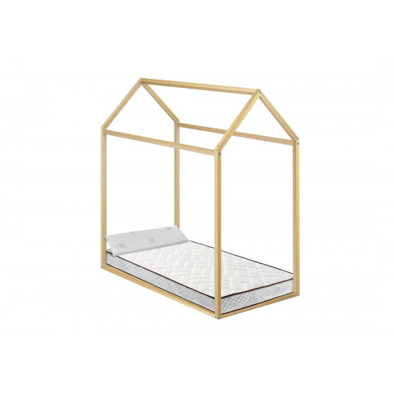 Cama Infantil Casita Madera Montessori + Colchón Flexitex con Tejido 3D y Aloe Vera, Altura 18 cm + Almohada de Visco, 90x190 cm