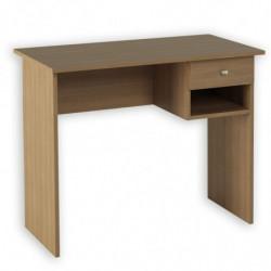 Mesa de ordenador, estudio, escritorio, oficina, 1 cajón + hueco, color nogal.